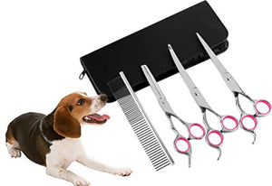 Whizzotech Dog Scissors Pet grooming Scissors Set 7'' Stainless Steel Pet Trimmer Kit- Thinning, Straight, Curved Shears with Combs for Long & Short Hair