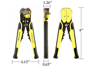 Whizzotech Wire Stripper Automatic Self-Adjusting Cable Stripping Tool Crimper Cutting Pliers Terminal Tool 8''