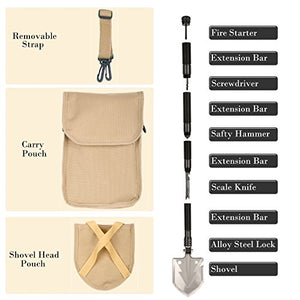 Whizzotech Military Folding Shovel Tactical Entrenching Tool Compact Car Emergency Kit Portable Heavy Duty Survival Gear Multifunctional Shovel with Carrying Pouch for Camping Hiking Backpacking