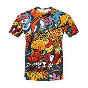 Japan Dragon Colorful All-Over Print T-shirt
