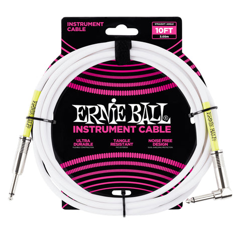 Ernie Ball 10' Straight-Angle Instrument Cable - White