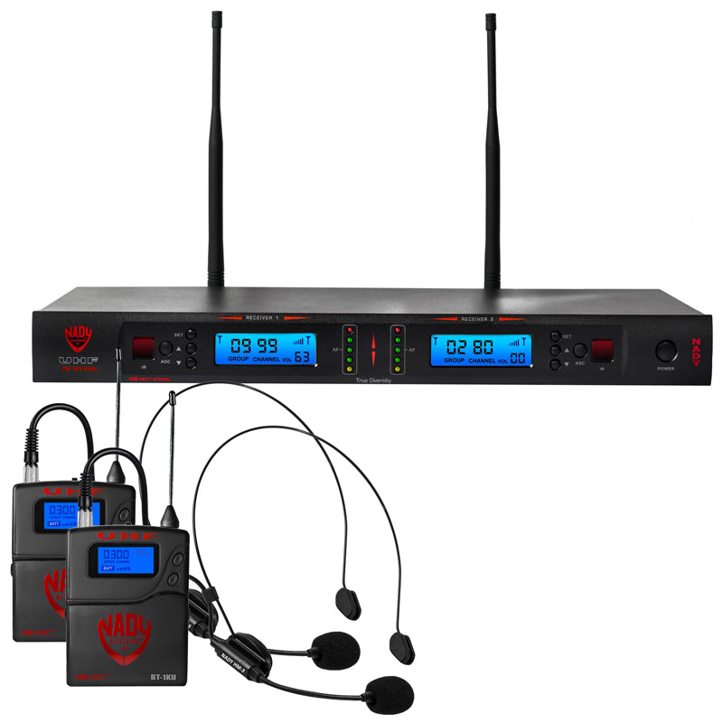 Nady 2W-1KU HM-3 Dual 1000-Channel Professional UHF Wireless System w/ 2 Headset Microphones