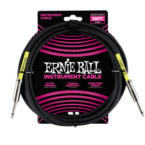 Ernie Ball 10' Straight-Straight Instrument Cable - Black