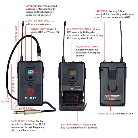 Image of Nady U-1100 GT 100-Channel UHF Wireless Instrument/Guitar System