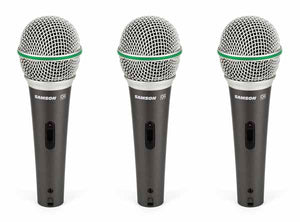 Samson Q6 Dynamic Supercardioid Handheld Vocal Microphone (3-Pack)