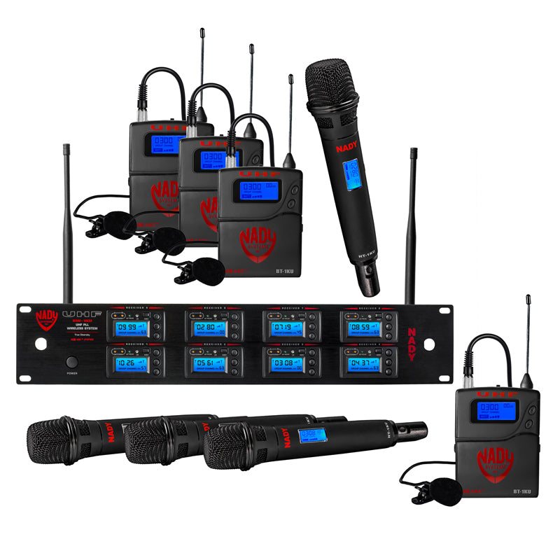 Nady 8W-1KU LT Octo 1000-Channel Professional UHF Wireless System with 4 Lavalier/4 Headset Microphones
