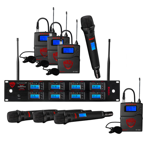 Image of Nady 8W-1KU LT Octo 1000-Channel Professional UHF Wireless System with 4 Lavalier/4 Headset Microphones