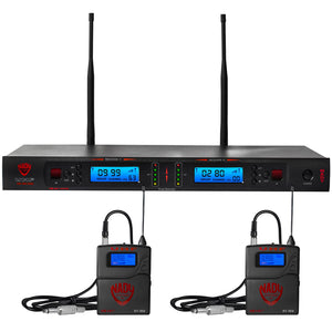 Nady 2W-1KU GT Dual 1000-Channel Professional UHF Wireless System with 2 Guitar/Instrument Bodypacks