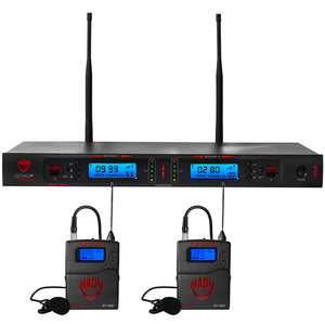 Nady 2W-1KU LT Dual 1000-Channel Professional UHF Wireless System with 2 Lapel/lavalier Microphones