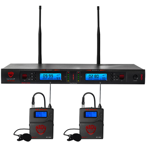 Image of Nady 2W-1KU LT Dual 1000-Channel Professional UHF Wireless System with 2 Lapel/lavalier Microphones