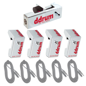 ddrum Chrome Elite 5-Piece Acoustic Triggers Set Bundle with Cables