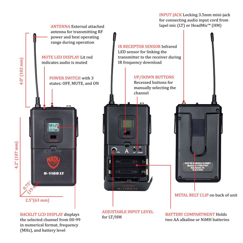 Nady U-1100 HM 100-Channel UHF Wireless Headset Microphone System