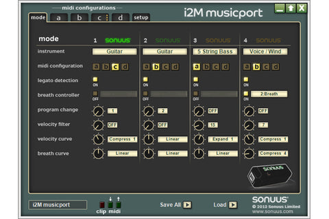 Sonuus i2M Musicport MIDI Converter and Hi-Z Guitar USB Audio Interface
