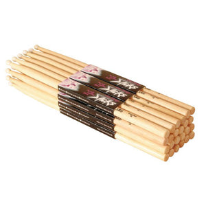 On-Stage 5A Wood Tip Hickory Drum Sticks (12 Pairs)
