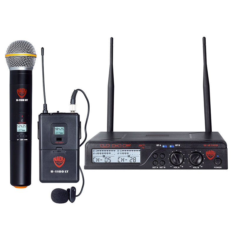 Nady U-2100 Dual Combo HT-LT 200-Channel UHF Wireless Handheld/Lavalier Microphone System