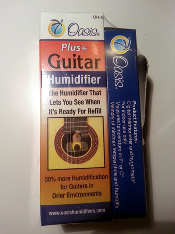 Oasis OH5 Guitar Plus Humidifier/OH2 Hygrometer Bundle Pack