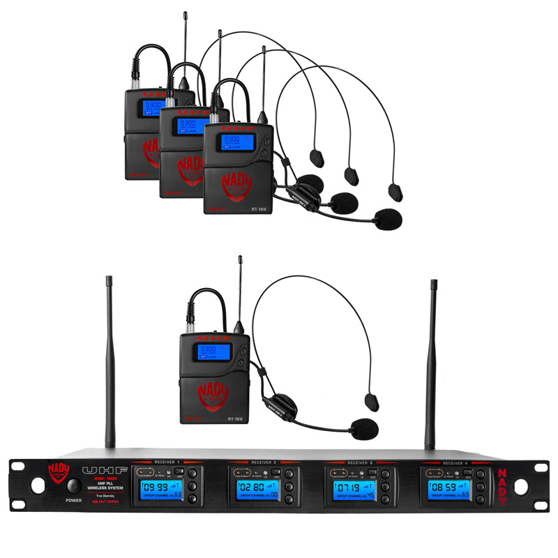 Nady 4W-1KU HM-3 Quad 1000-Channel Professional UHF Wireless System with 4 Headset Microphones