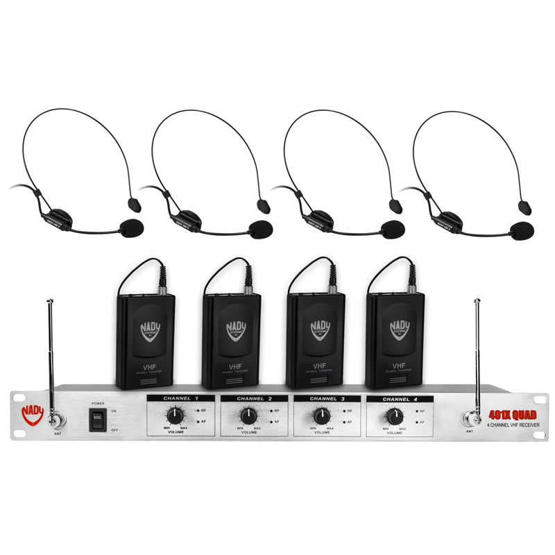 Nady 401X QUAD Wireless 4-Channel Headset Microphone System