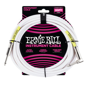 Ernie Ball 20' Straight-Angle Instrument Cable - White