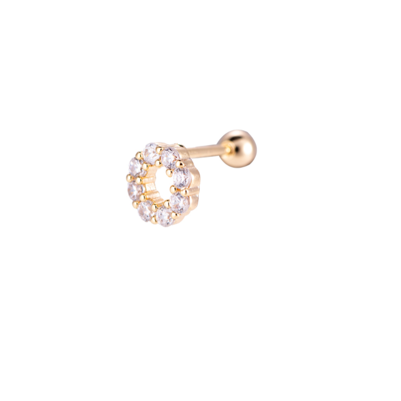 Flat Piercing Diamond Circle Gold