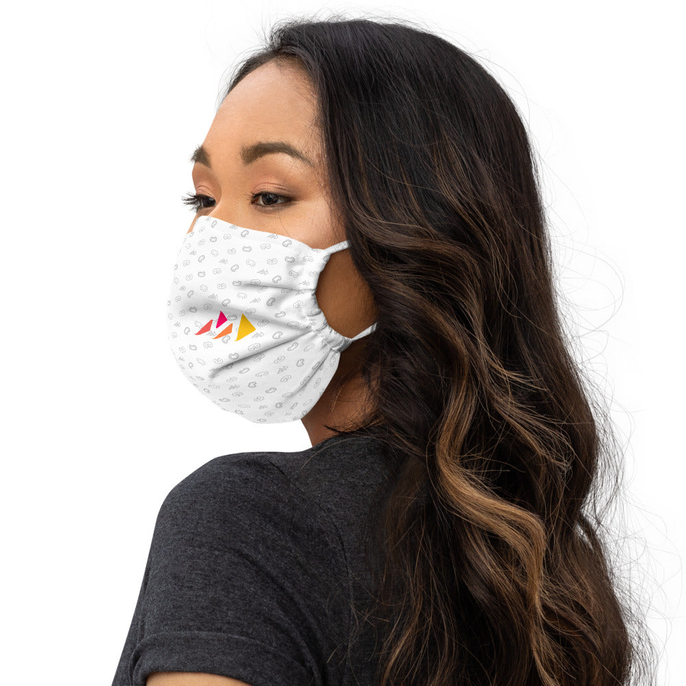 White Monogram Premium face mask w/Pattern