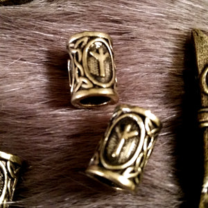 Fenris Rune Beard Braid Beads 1 Pair Algiz Bronze Viking Celtic