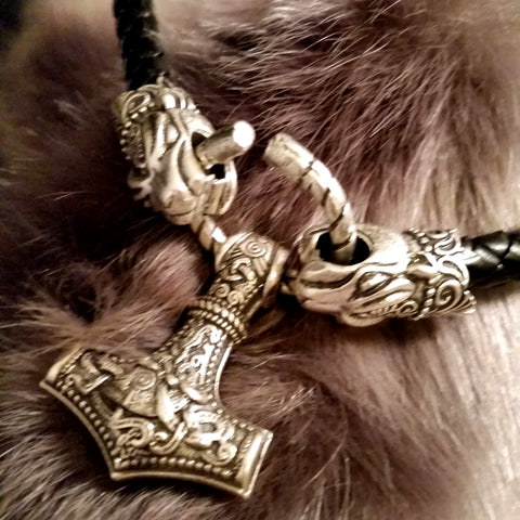 black leather silver leopard necklace thor's hammer LARP viking
