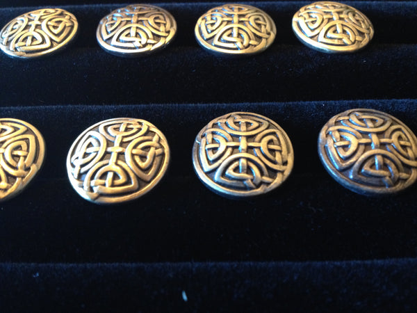 buttons metal celtic bronze 1/2 inch knotwork irish LARP medieval cosplay