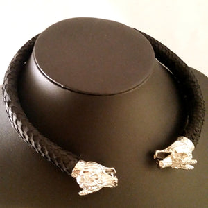 dragon torc silver black leather choker necklace