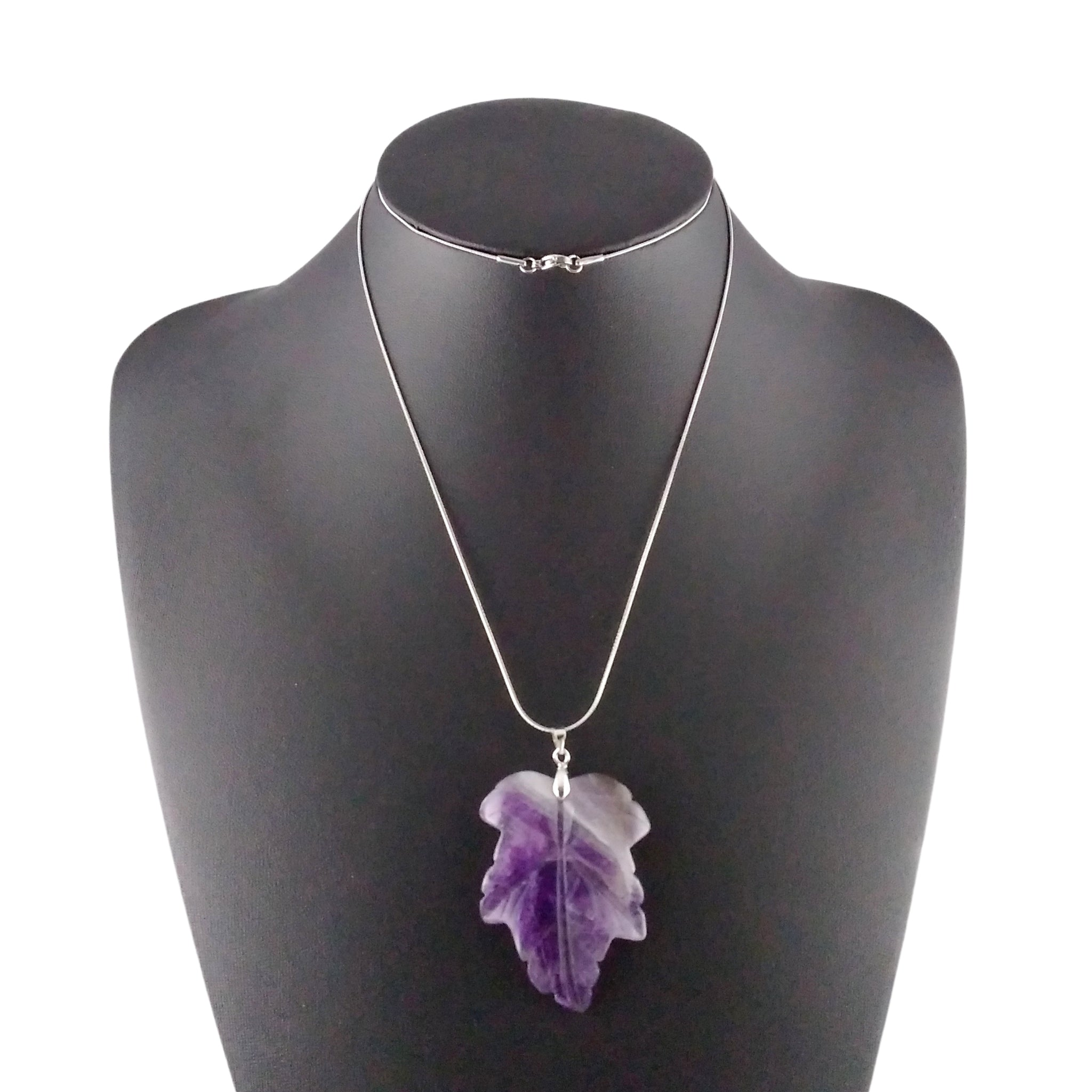 amethyst leaf necklace silver carve nature statement gift womens