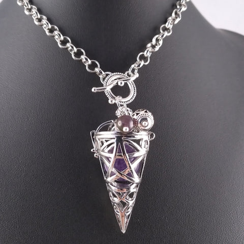 amethyst pentegram silver necklace locket witch pagan