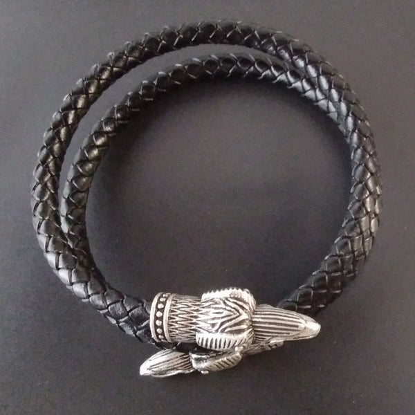 raven arm ring silver black leather bracelet wrap viking larp nature