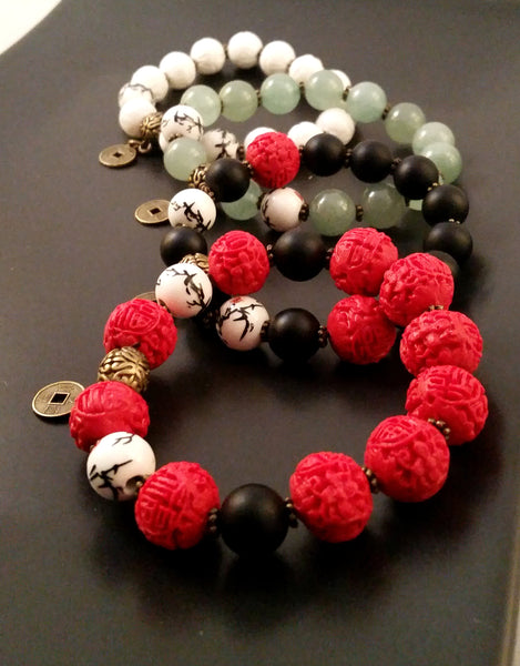 Red Carved Cinnabar Bracelet Chinoiserie Painted Beads Bronze Coin Stretch Accent Stack