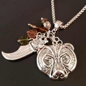 bear necklace amber silver charm viking