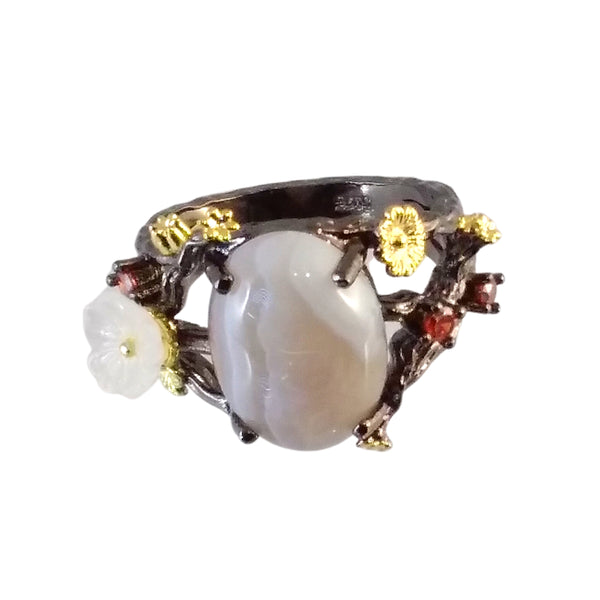 black gold ring agate branches plum blossom agate red organic nature