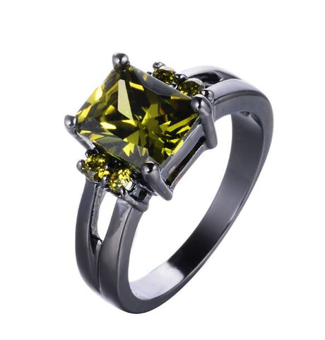 black gold ring green olive cubic zirconia peridot crystal olivine cocktail ring