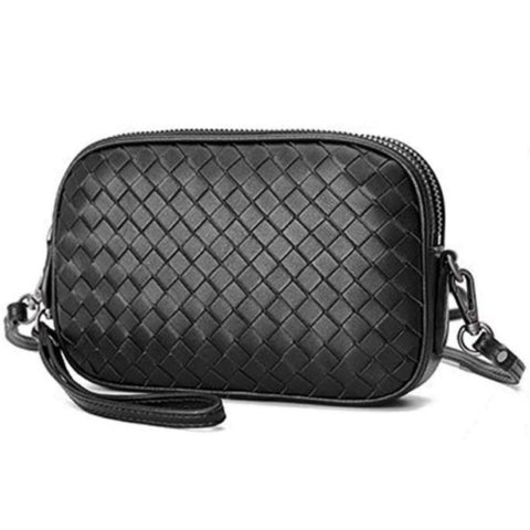 camera bag woven sheepskin leather purse handbag black