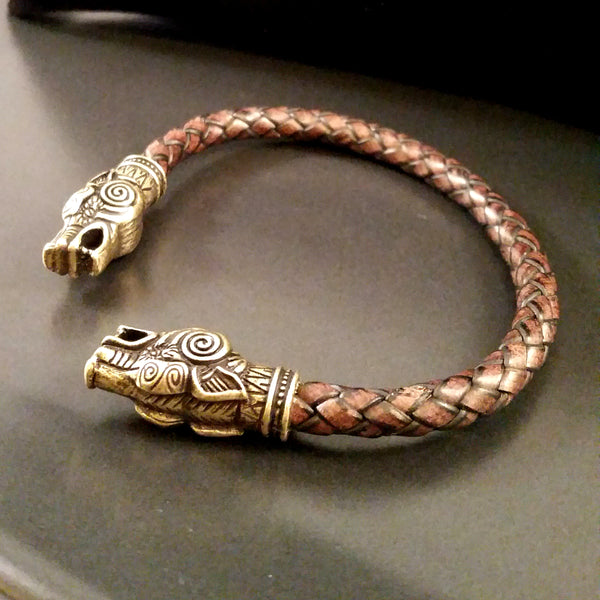 Wolf Torc Bracelet Bronze Brown Leather Viking Celtic LARP Rock