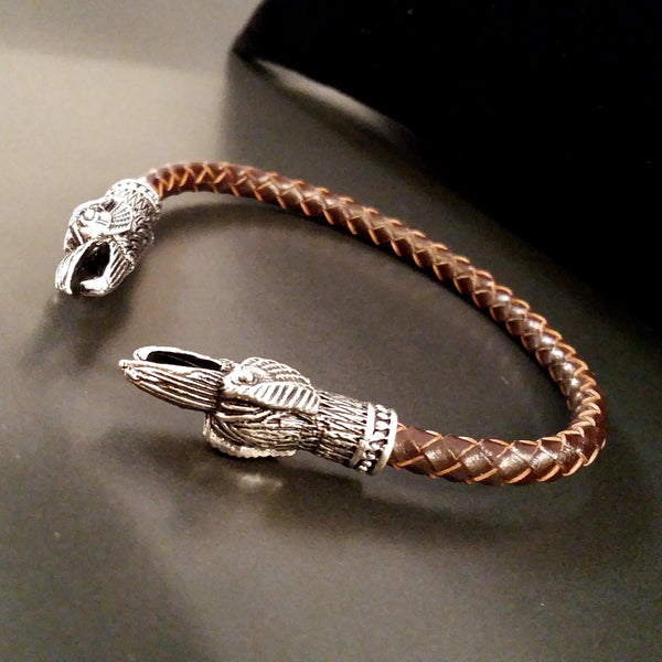 raven torc bracelet silver brown leather viking celtic larp rock fashion