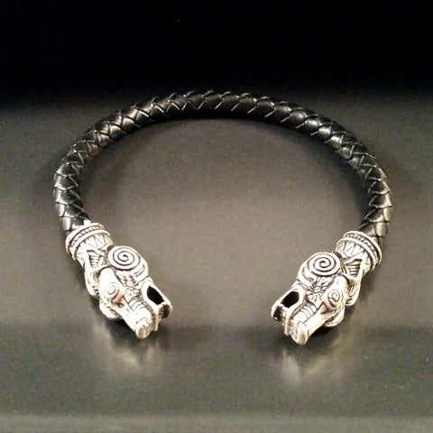 wolf torc bracelet silver black leather viking celtic LARP Rock