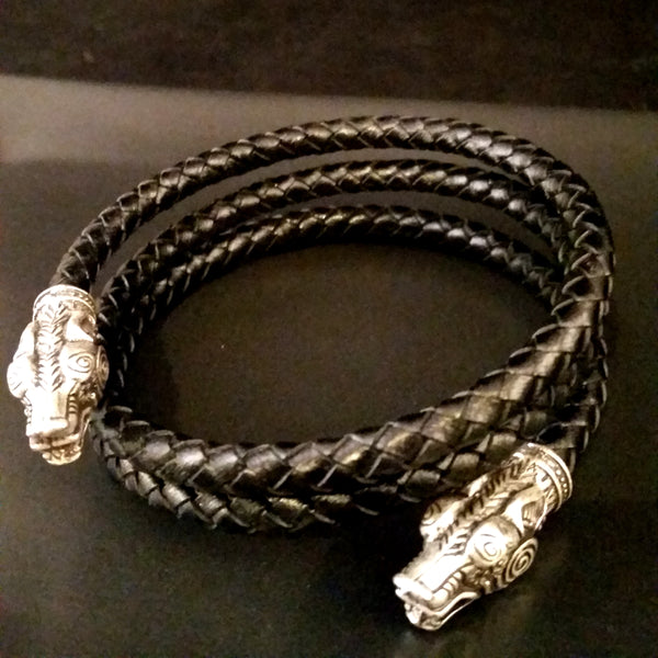 Black Leather Silver Bracelet Wolf Viking Torc Mens Spiral Arm Ring