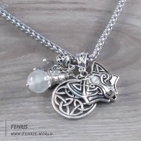 celtic fox necklace silver gray labradorite viking womens mens unisex