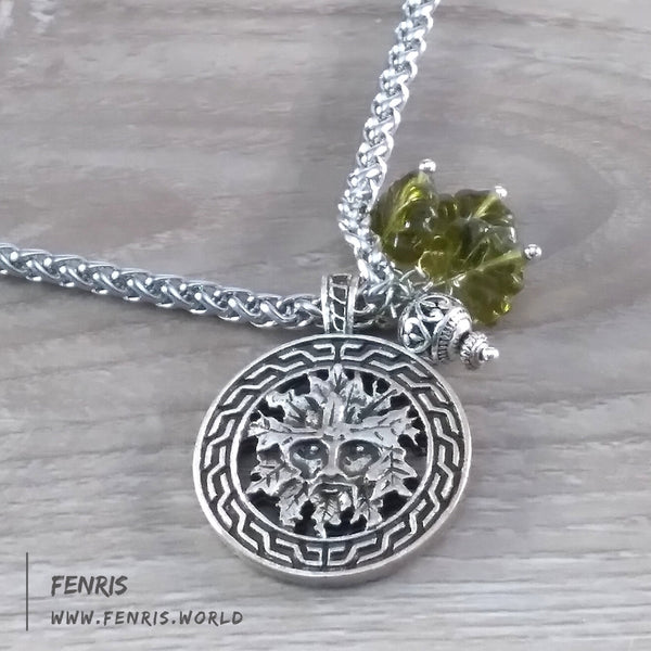 green man necklace silver celtic green leaf mens womens unisex