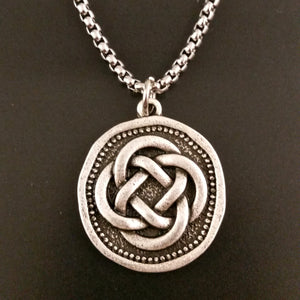 celtic knot coin necklace knotwork irish viking norse