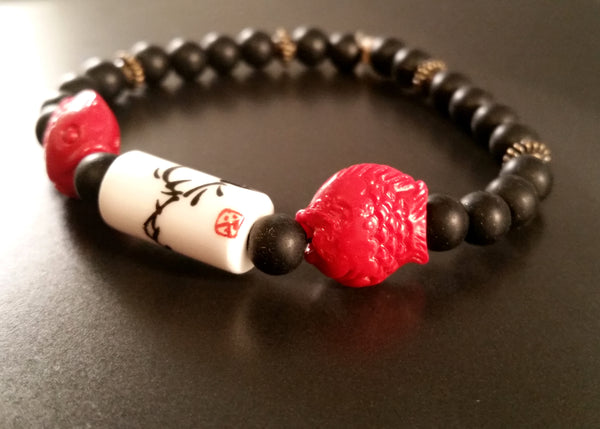 Obsidian & Cinnabar Chinoiserie Bracelet Red, Black Retro Asian