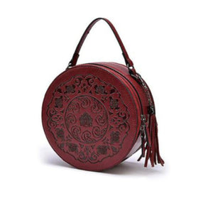 red leather round handbag purse asian goth gothic vampire