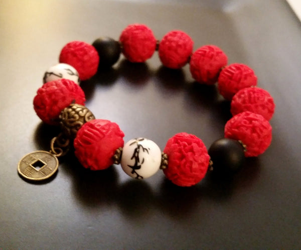 Red Coral Cinnabar Retro Chinoiserie Bead Bracelet Asian Jewelry