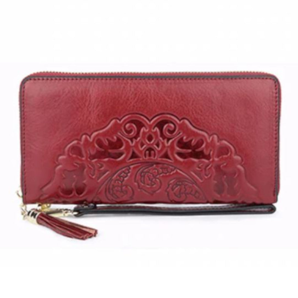 red leather wallet embossed asian chinese retro goth gothic vampire