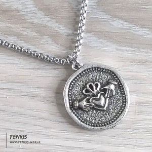 claddagh silver coin necklace celtic irish