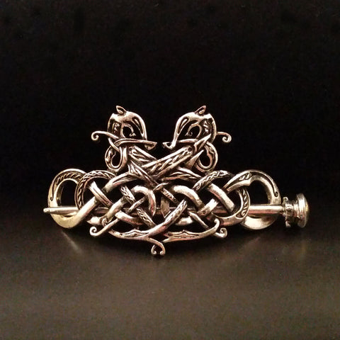dragon hair barrette clip silver knotwork celtic viking larp